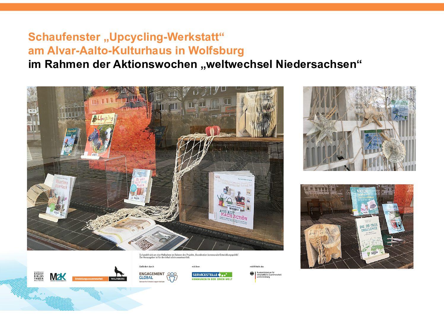 "Schaufenster ""Upcycling-Werkstatt"" am Alvar-Aalto-Kulturhaus in Wolfsburg"